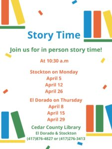 Weekly Story Time with Mrs. Shelby! (Stockton) @ Cedar County Library Stockton Branch